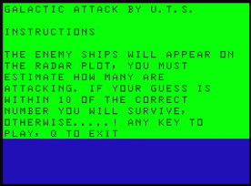 Galactic Attack Dragon 32 instructions (1983 version)