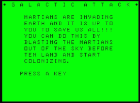 Galactic Attack Dragon 32 instructions (1984 version)